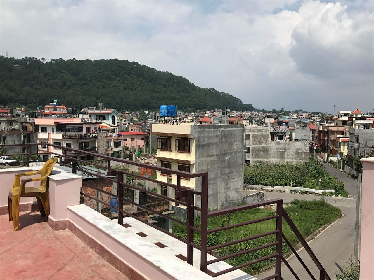 view from rooftop, can see whole kathmandu valley