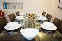 Dining on the ground floor can seat up to 10 with additional table