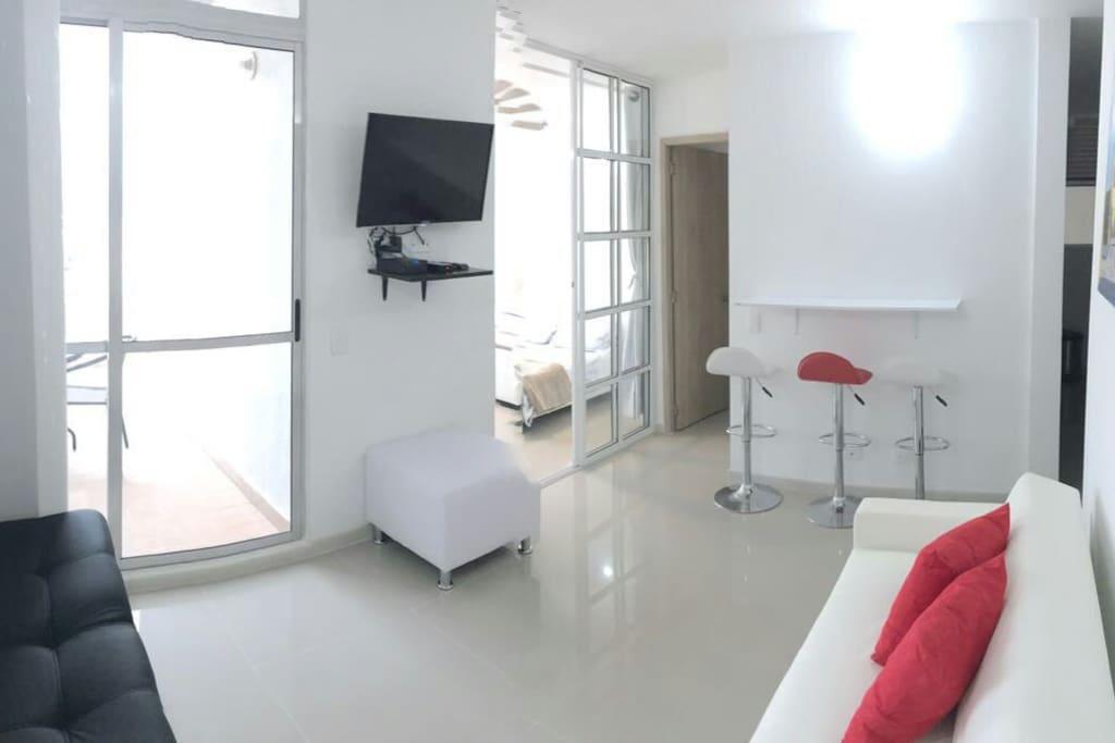 Sala con tv led de 32, sofacama , puff , mesa tipo barra , acceso a terraza privada .