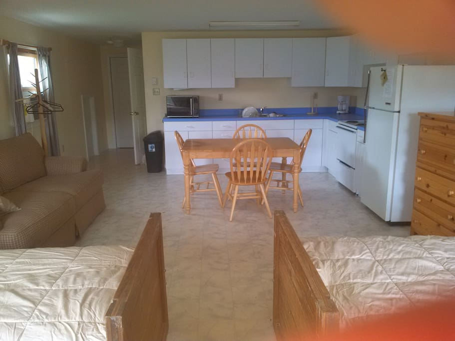 View from beds to kitchen area