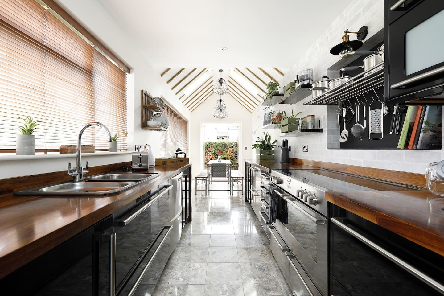 Kitchen with breakfast area and french doors out to garden