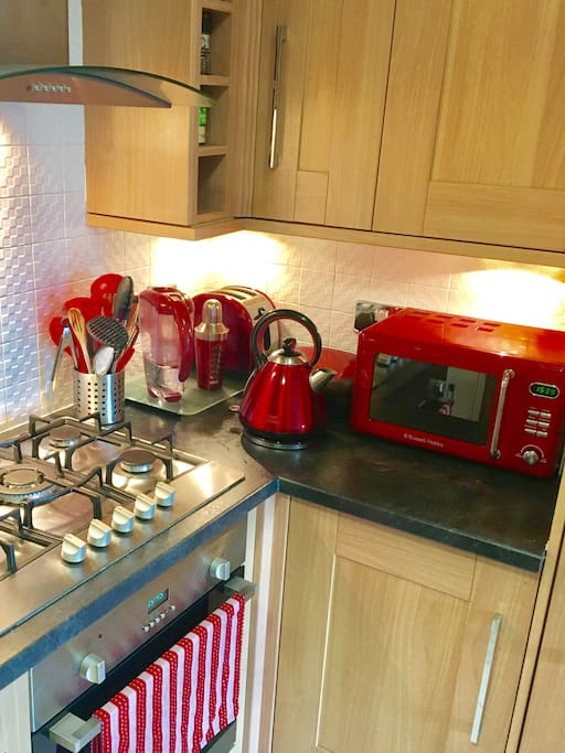 Kitchen with gas stove, fan forced oven and Russell Hobbs appliances