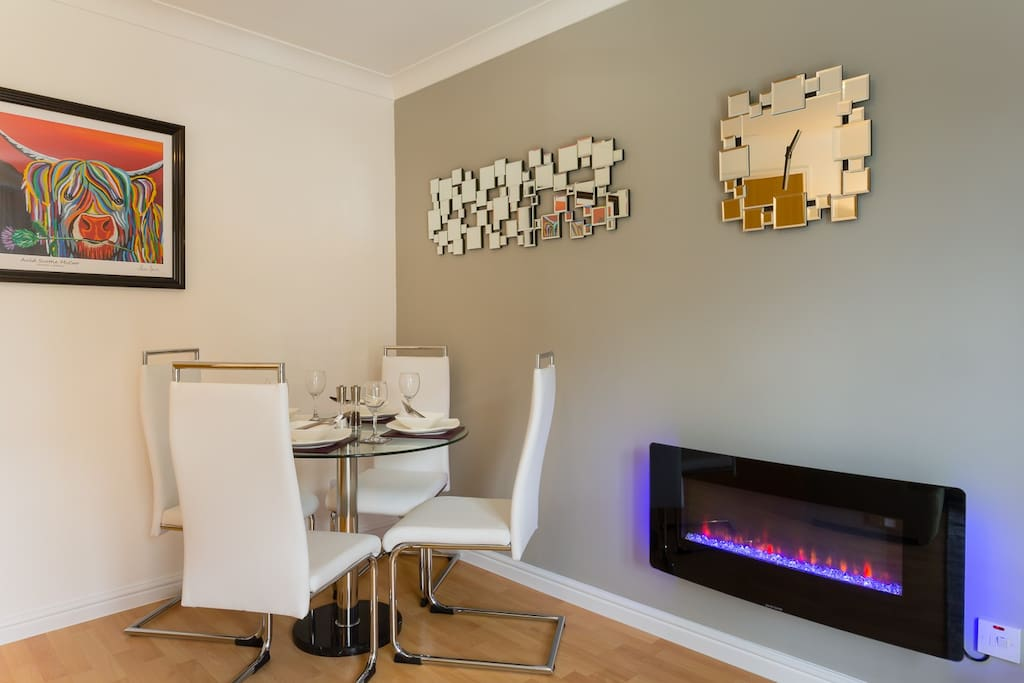 Ample dining area and LED fire