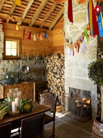 Interior of stone dining barn