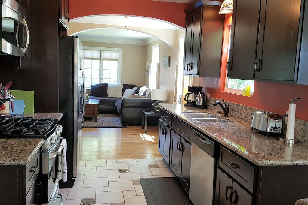 Kitchen with stainless steel appliances, gas range, and most everything you need to function as a regular home