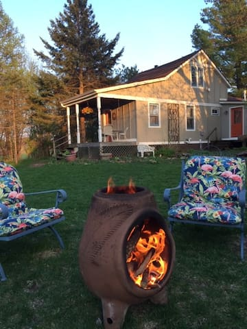 Enjoy sitting around the fire in the chiminea, listening to birds in the trees.