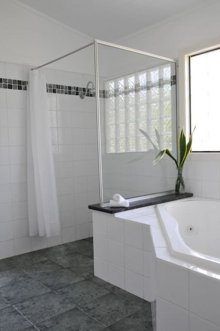 Spa bath and walk in shower ensuite