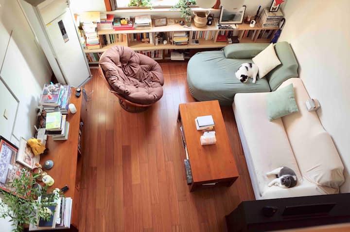 挑高客厅/很多书/超宽敞舒适/