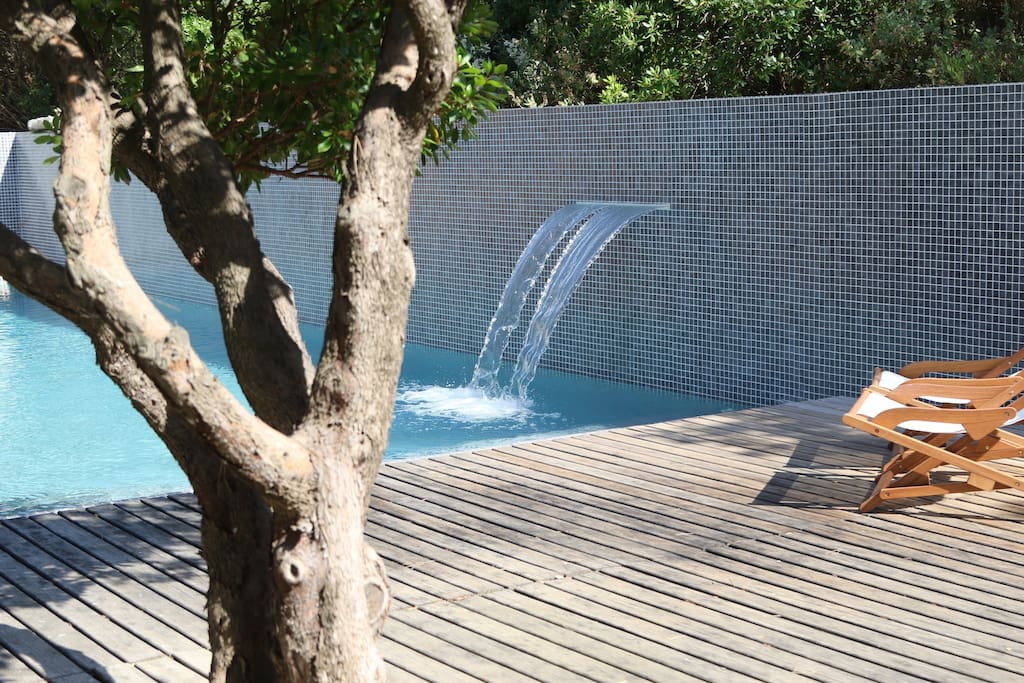 Waterfall in the pool. Switching on or off with simple button in the terrace.