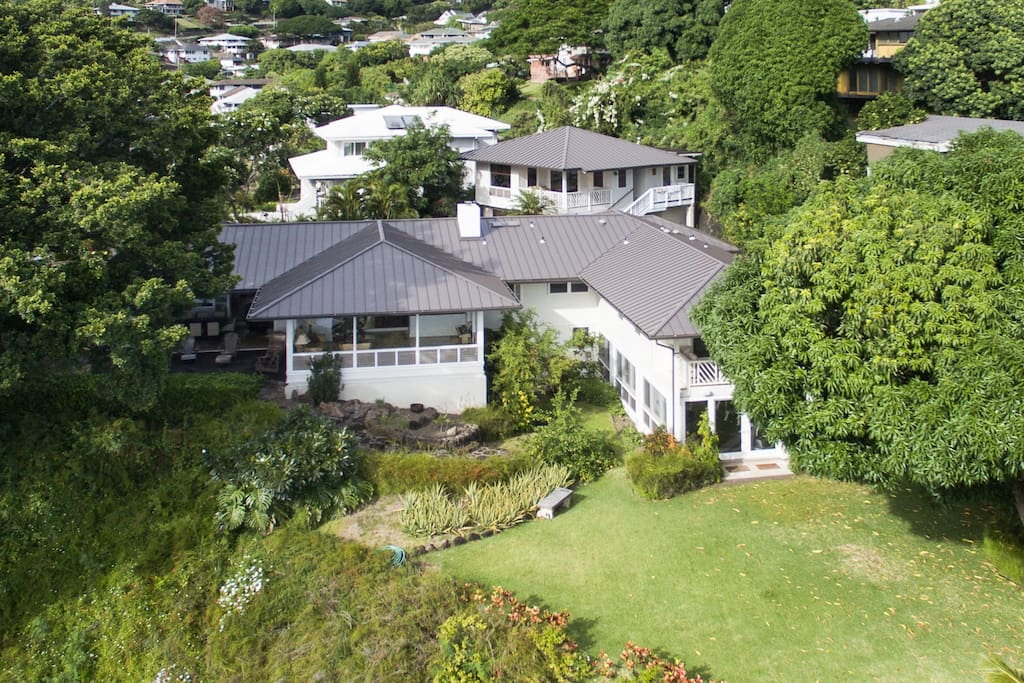 Aerial view of property beautiful gardens and backyard