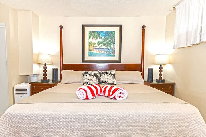 Bedroom includes king size bed and air conditioner