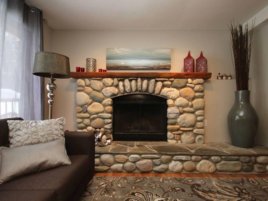 Beautiful wood burning fireplace