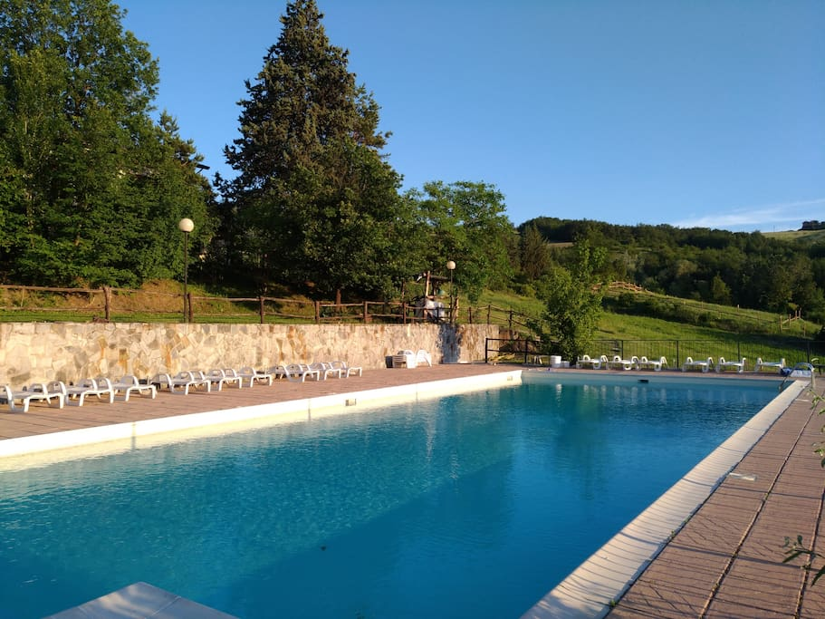 Swimming pool. It is in the opposite part of the yard and is part my parents' agriturismo. As my guests, you will have free access to the swimming pool.
