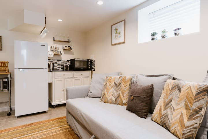 Combined living and kitchenette space for your eating and relaxing pleasure.