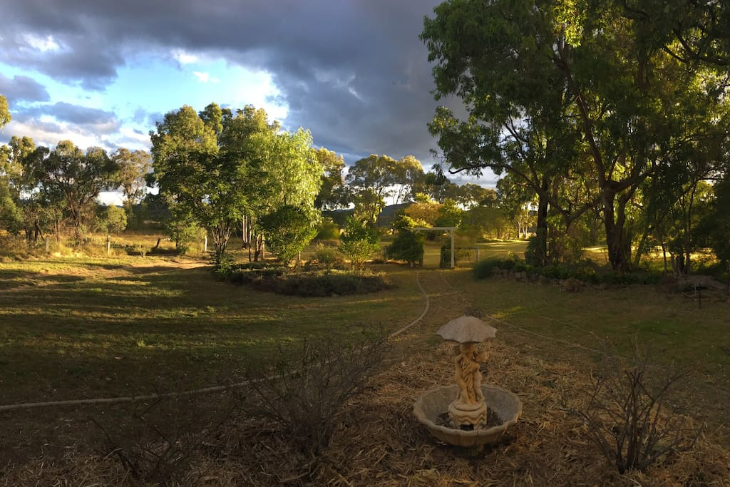 Panoramic view from the verandah as the sun sets