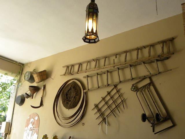 Court: old ladders and wine kegs, memory treasures