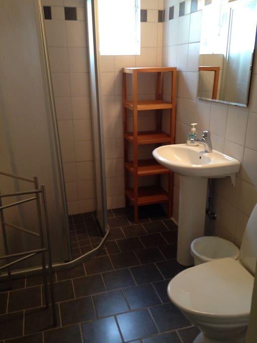Dusch och toalett.  The bathroom.