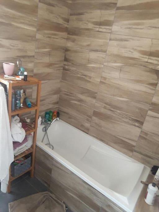 Salle de bain avec toilettes. 1 toilette indépendant au rdc.