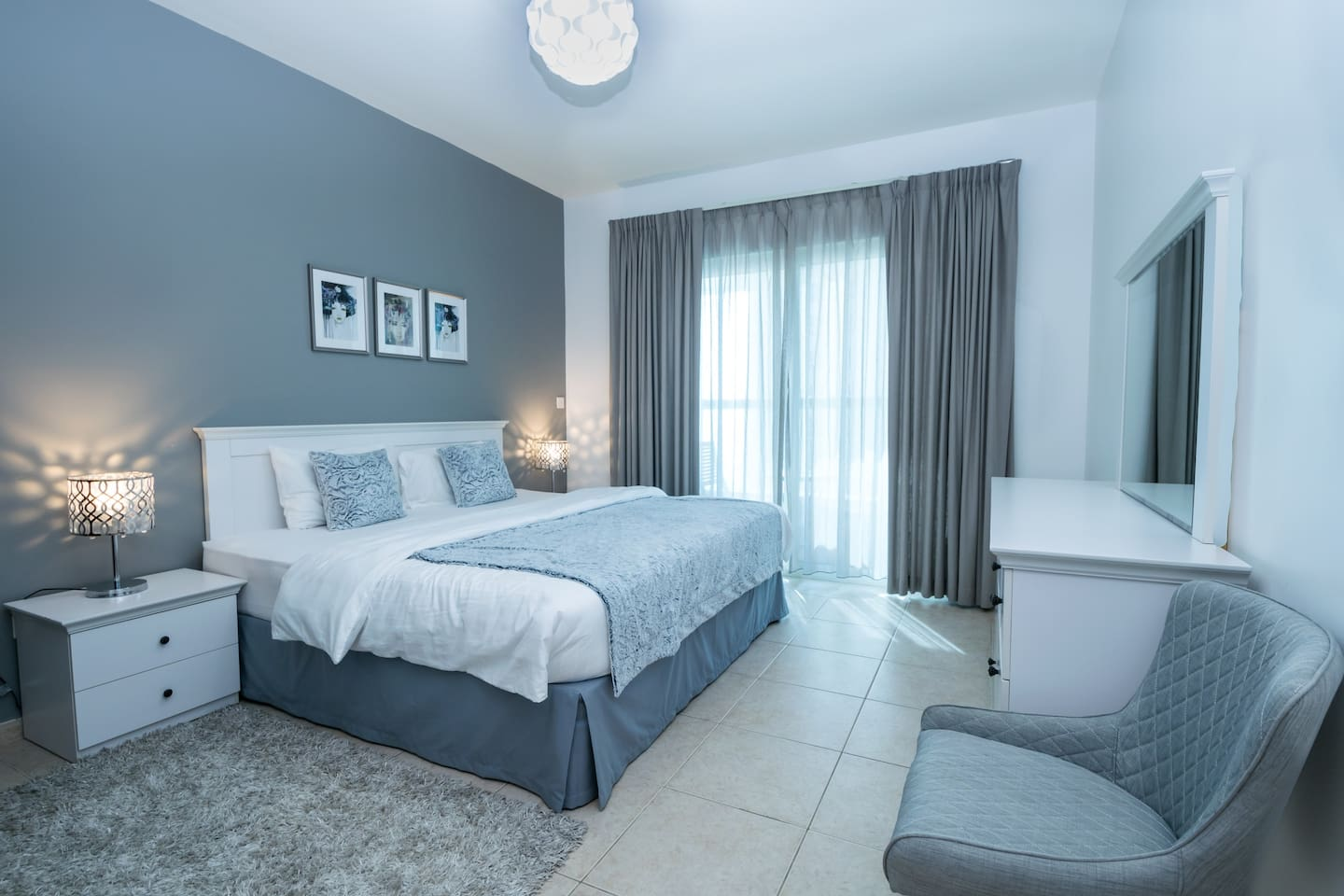 Master bedroom bathroom/shower, King size bed OR 2 single beds.