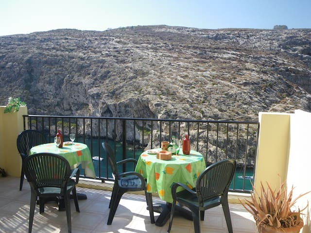 1 bedroom Xlendi, Gozo, Seafront Flat with terrace