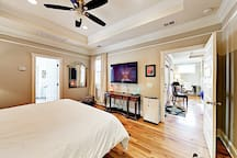 Stretch out in the master bedroom and watch favorite shows on TV.