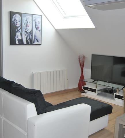 Un espace détente dans ce salon avec canapé d'angle convertible, télévision,  connexion wifi dans tout l'appartement, ... Posez-vous, comme chez vous...
