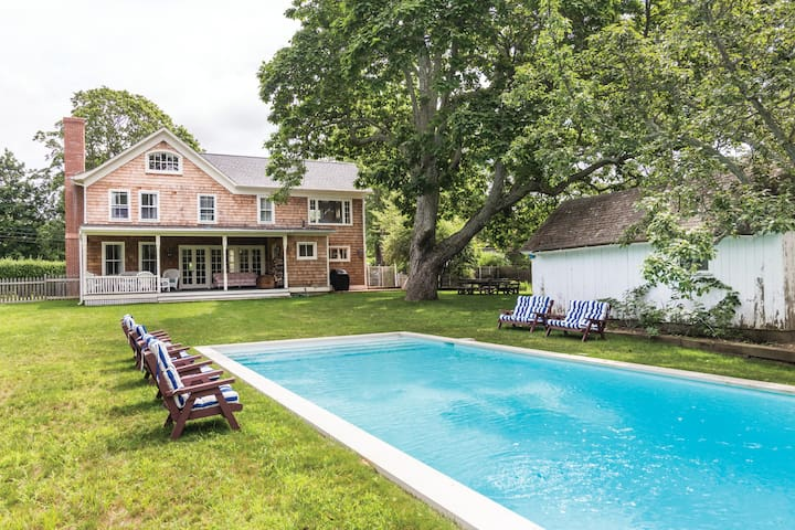 1890s farm house with a pool