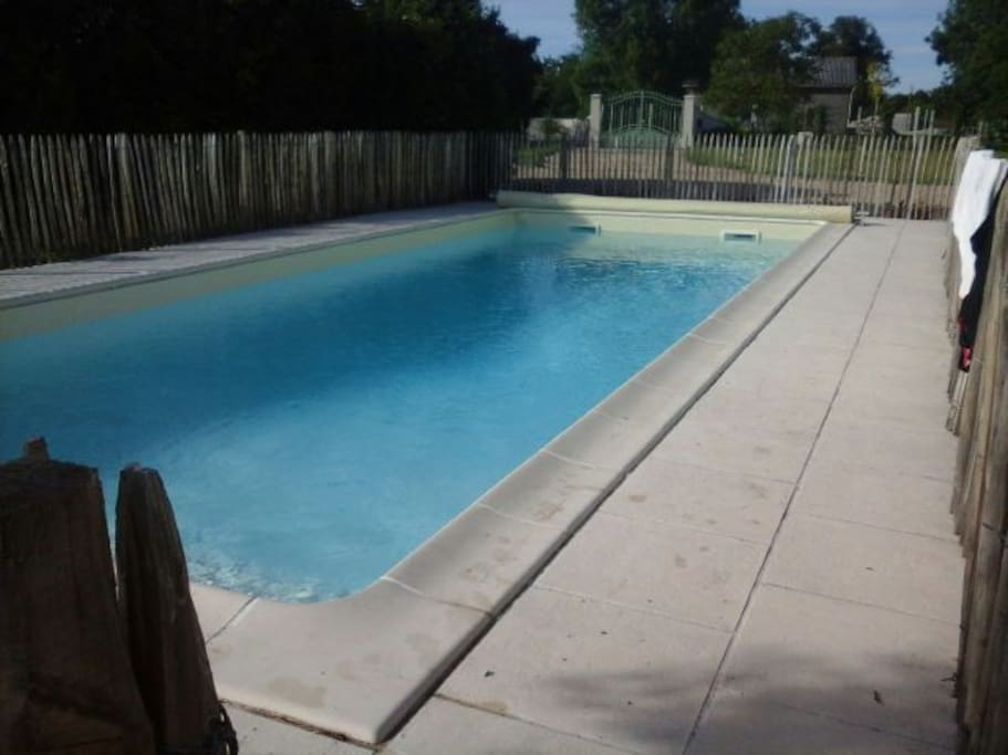 Swimming pool with a security fence