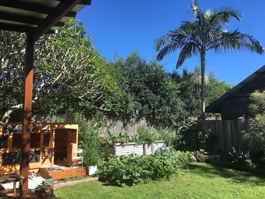 Cubby house and veggie patch