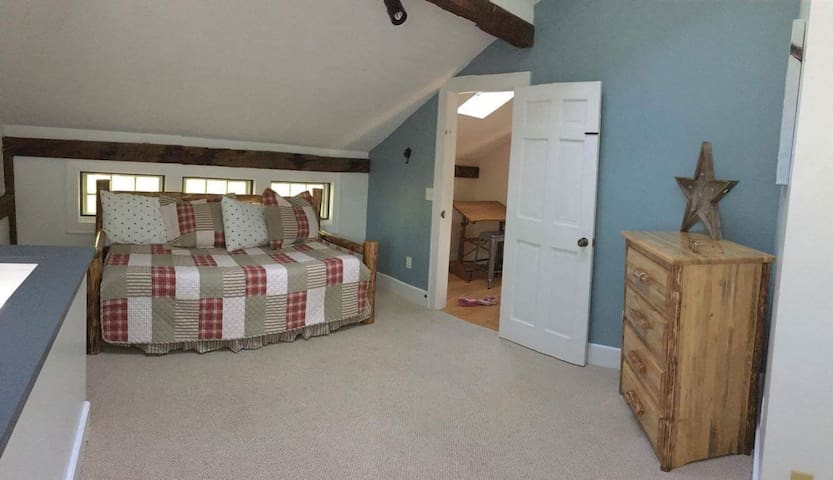 Second bedroom. There's a pop up twin size trundle under the day bed. .