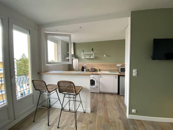 studio 34m2 1 lit double cuisine équipée - balcon
