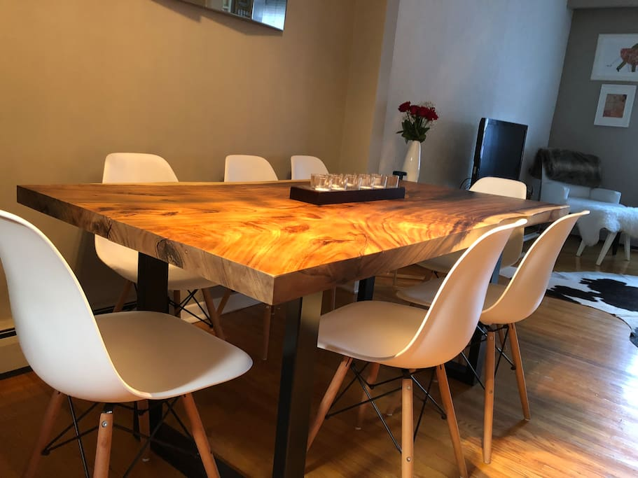 Modern live edge dining table which seats 6-8.