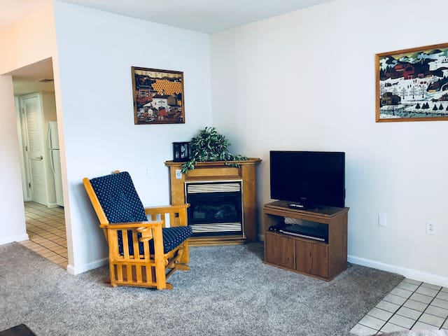 Television, Fireplace, and Rocker