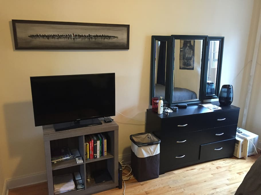 TV, Dresser and Mirror