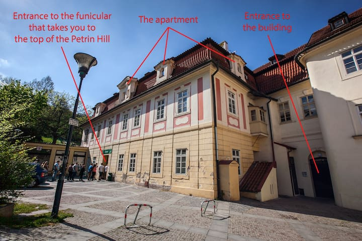 The historical building where the apartment is.  All these people are staying in a line to be delivered to the top of the Petrin Hill, where the Lookout Tower is.