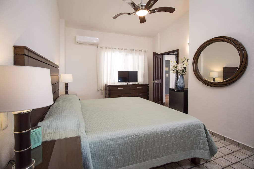 Rest in comfort and style in this newly renovated King suite complete with ceiling fan, air conditioning, wifi and cable smart TV.