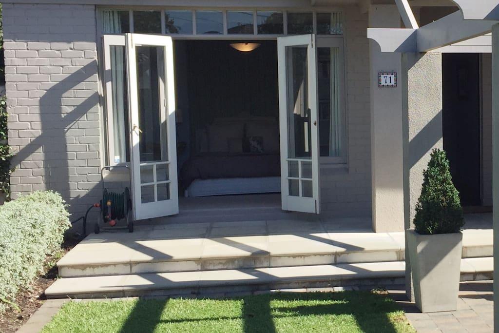 Bedroom doors to courtyard