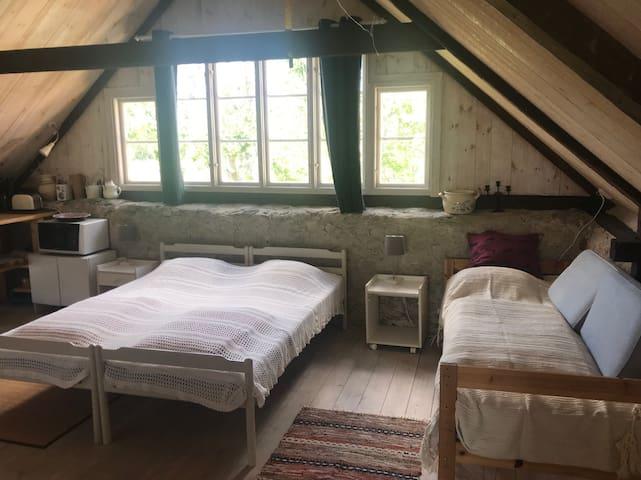 The three single beds.