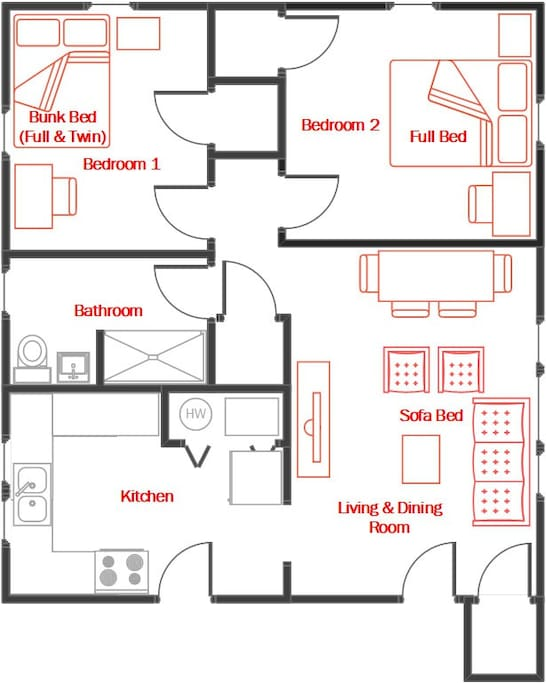 Suite has 2 bedrooms with 4 beds (2 full, 1 twin, 1 sofa bed) and can accomodate 6+ guests.