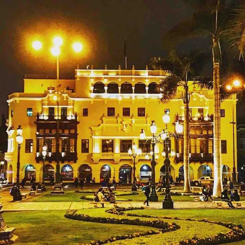 Plaza De Armas at night. 5 minute straight walk from my building