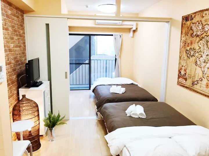 LX32 一室一廳房間,位置優越,交通便利!步行可達和平公園、原爆遺址、廣島城。Wifi完備!
