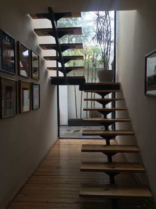 Stairs to second floor with a view.