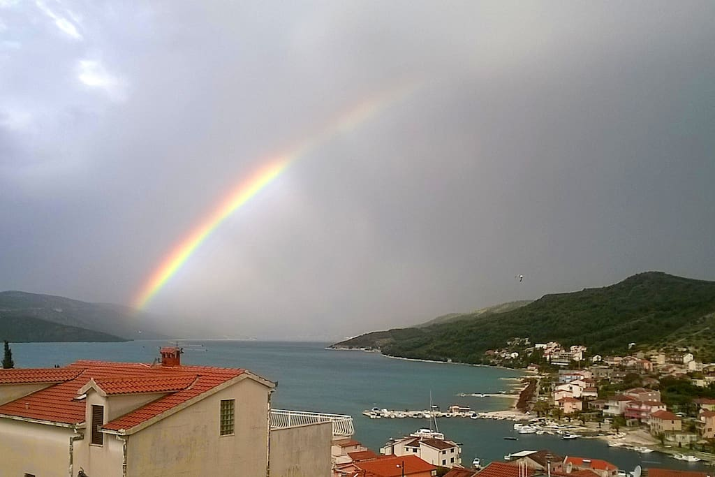 View from balcony with rainbow