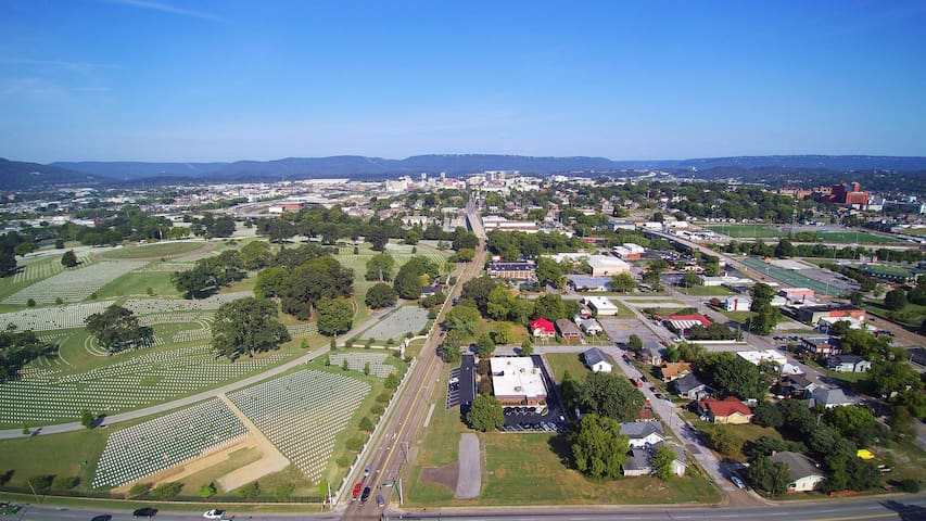 Downtown is at the Top of the picture!  The House and Neighborhood are just behind the Drone shot!  Very convenient to everything!