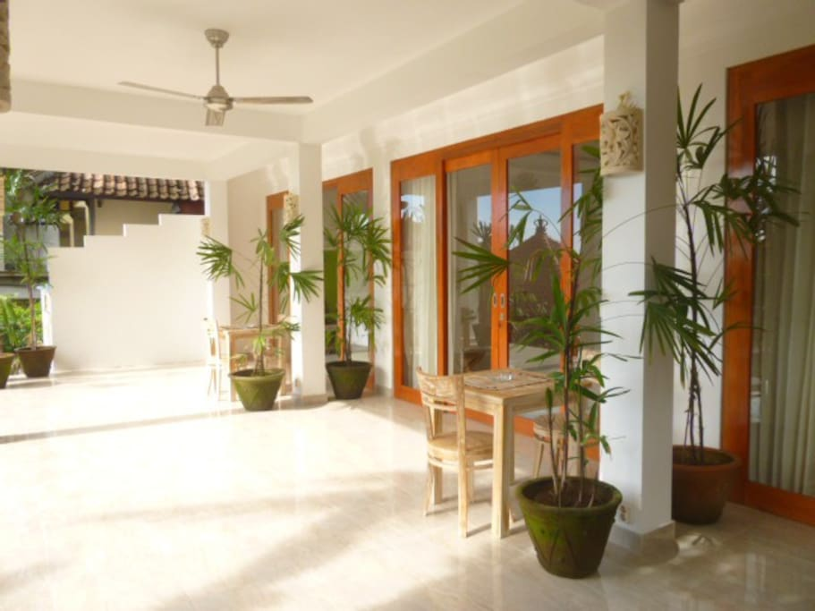 Have breakfast just outside your room, at your private table. Enjoy the peaceful terrace overlooking the garden.