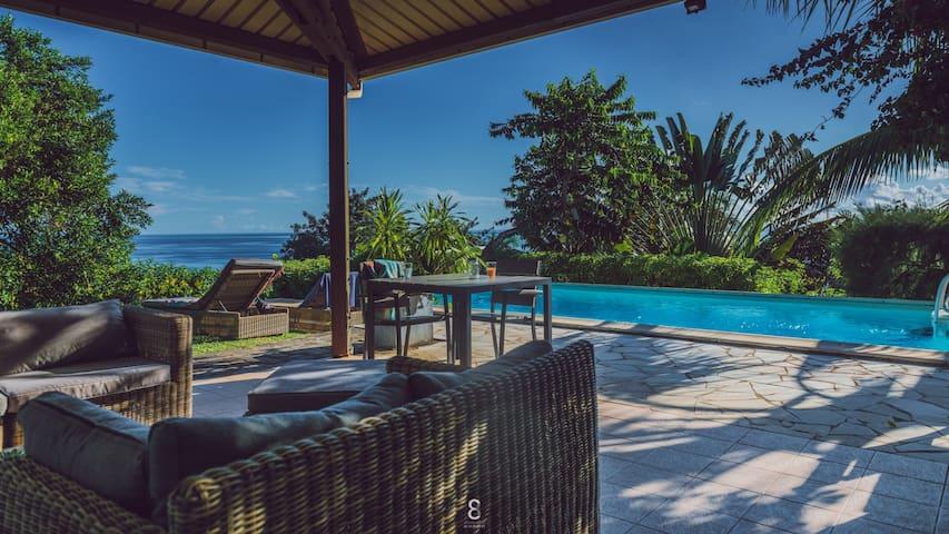 gîte villa d'ô piscine, vue mer sur pointe koungou