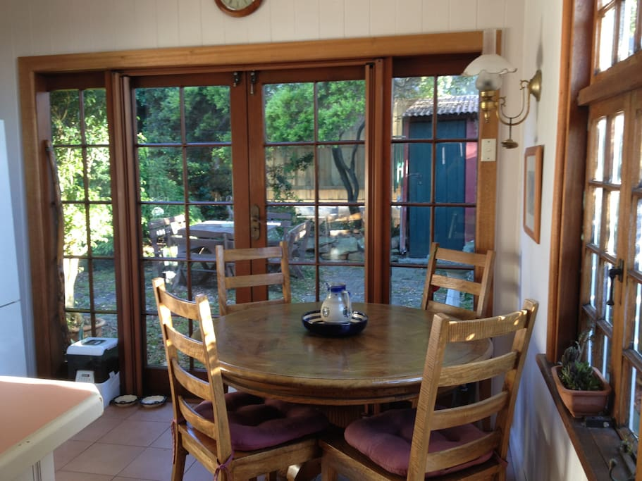 Dining area and french windows to yard