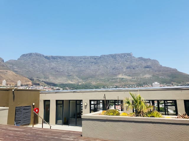 Spectacular view of Table Mountain from rooftop pool deck and gym.
