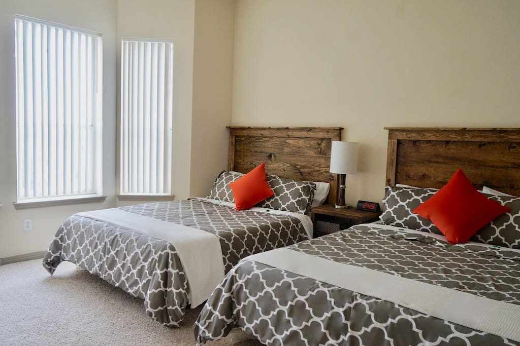 Bedroom #1: Sleep like royalty on these two QUEEN size MEMORY FOAM beds. These mattresses have 5 STAR reviews and are like sleeping on a cloud.
