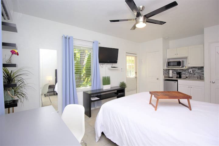 """Private entrance studio with Queen bed, kitchenette, private bathroom, 45"""" Sony TV (upgraded cable), high speed Wi-Fi Internet, & mini-split A/C system"""
